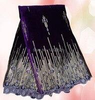 eccellente design CVL46-4 viola svizzero velluto liscio tessuto di pizzo decorato con paillettes per il vestito ( 5 yards / lot )