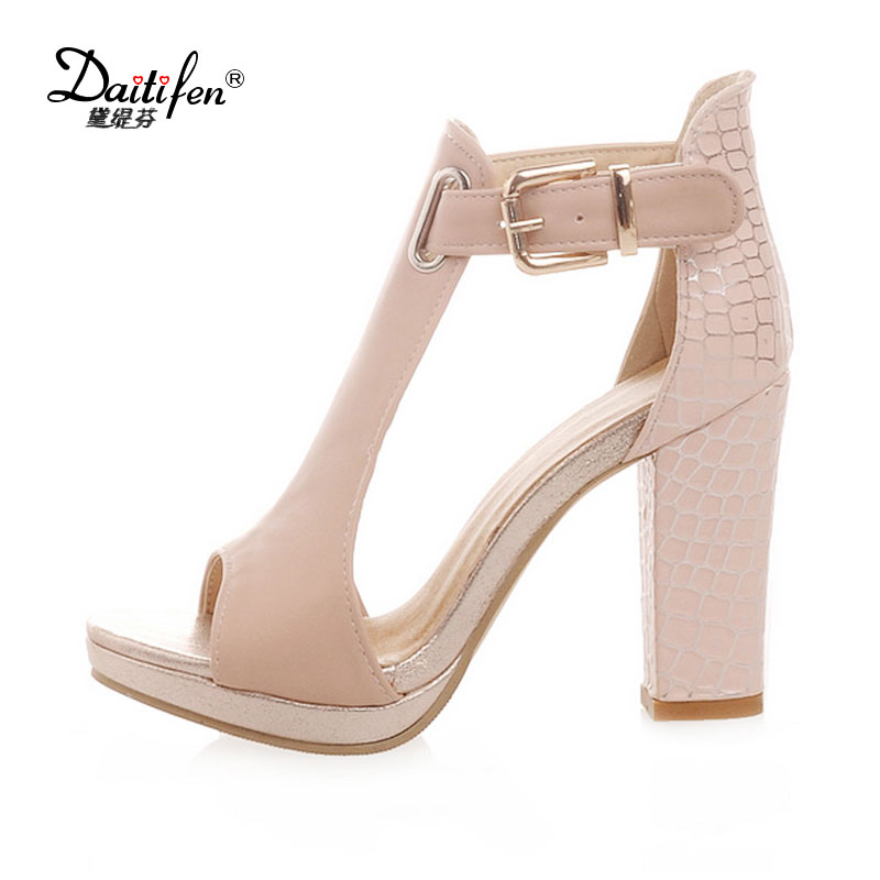 Daitifen Woman Sandals 2018 Summer Shoes Sexy Peep Toe Platform Sandals Women Pattern Chunky High Heels Party Wedding Sandals