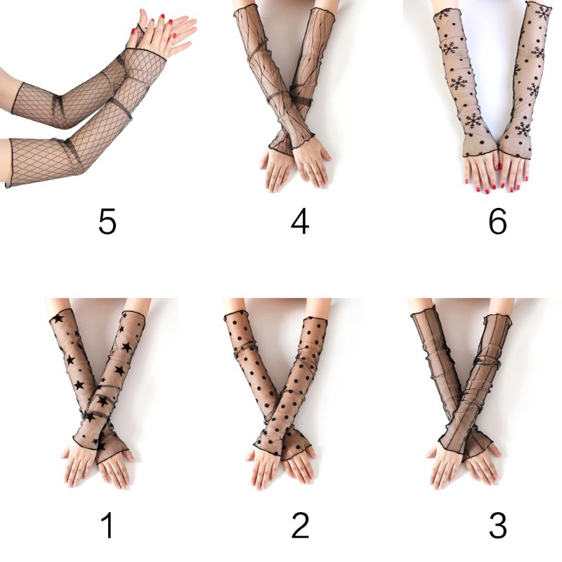 Women Girls Summer Elbow Length UV Protection Long Gloves Sheer Mesh Lace Solid Color Fingerless Sunscreen Ultra-Thin Arm