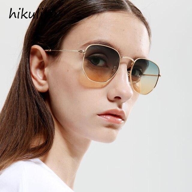 3b9b55bd1f 88152 Ultralight Polygon Sunglasses Women 2018 Brand Designer Metal Narrow  Ocean Gradient Lenses Retro Sun Glasses for Men