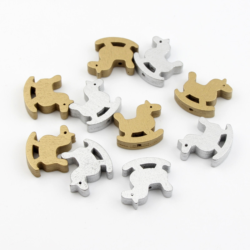 Gold/Silver Wooden Beads 30pcs horse Spacer Beads Necklace DIY Crafts Kids Toys & Pacifier Clip Wood Bead 23x25mm
