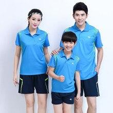 Adsmoney/костюм для родителей и ребенка, костюм для бадминтона, дышащий Быстросохнущий костюм для соревнований, костюм для бега и тенниса, футболка, шорты