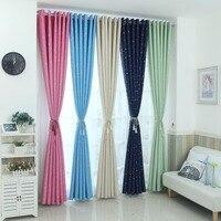 Moderno estrellas apagón Cortinas para dormitorio de los niños cortina habitación elegante azul Cortinas para sala
