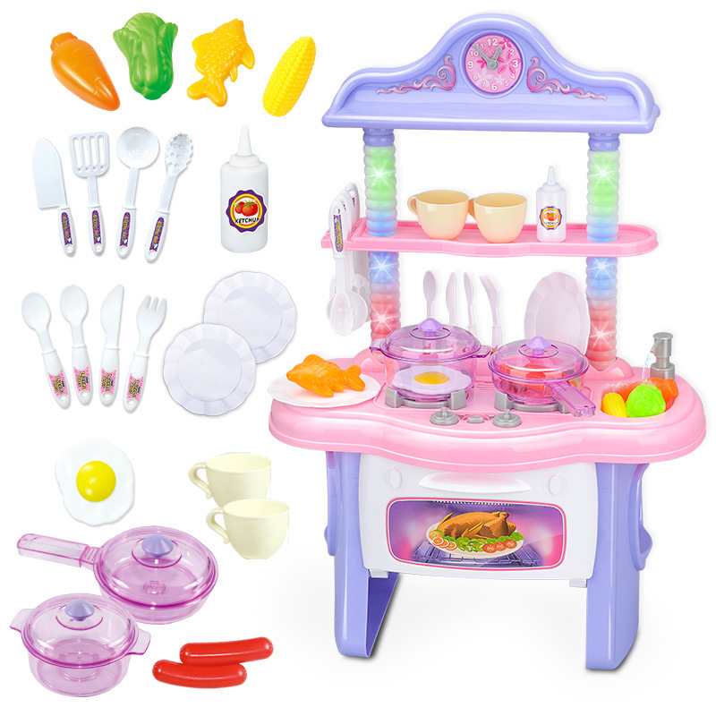 Plastic Baby Miniature Kitchen Food Pretend Play Children Toys With Music Light Kids Kitchen Cooking Toy Set For Boys Games Gift baby miniature kitchen plastic pretend play food children toys with music light kids kitchen cooking toy set for girls games hot