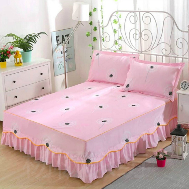 Bed Skirt Bedding Fitted Sheet Pillowcase Flower Home Decorate 12