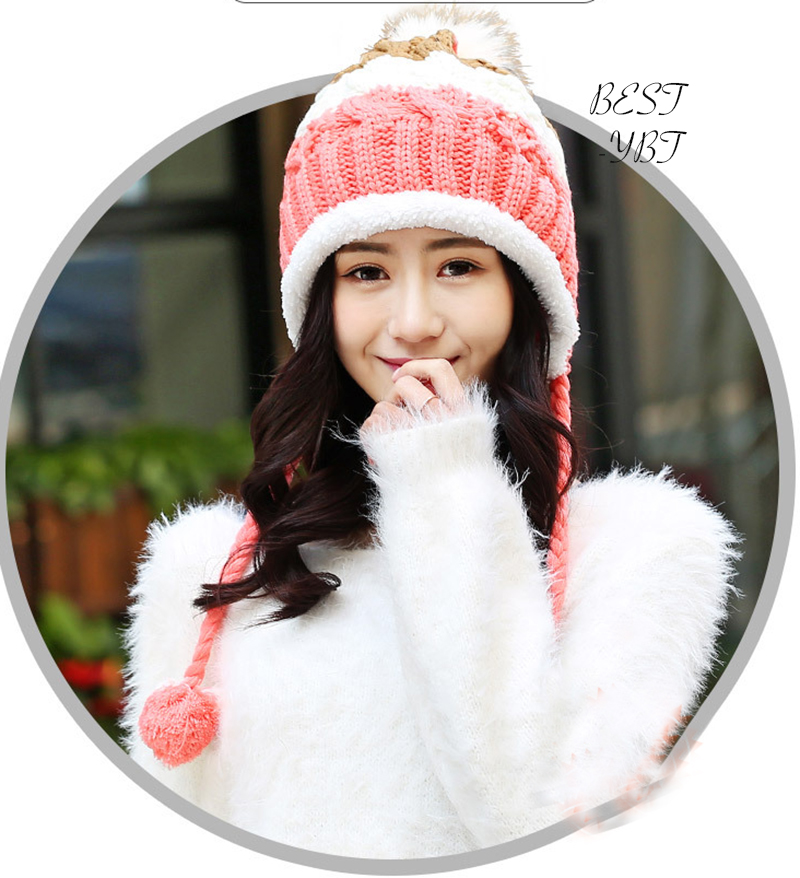 2017 Lovely Women Warm Winter High Quality Plus Cashmere Winter Warm Knitting Ball Hat