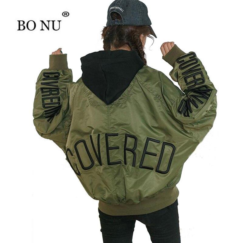 BONU Autumn Spring Loose Black Bomber Jacket Bat Sleeve BF Harajuku Army Green Coat Vintage Embroidery women's spring jacket