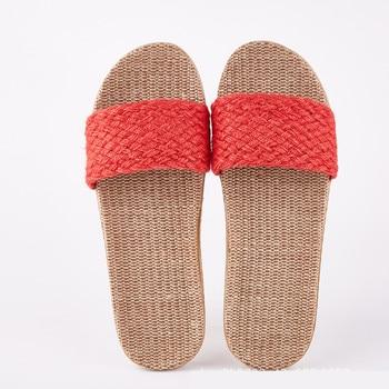 Women Flax Slippers Sandal Summer Comfortable Non-slip Ladies Cross-tied Casual Beach Shoe 1