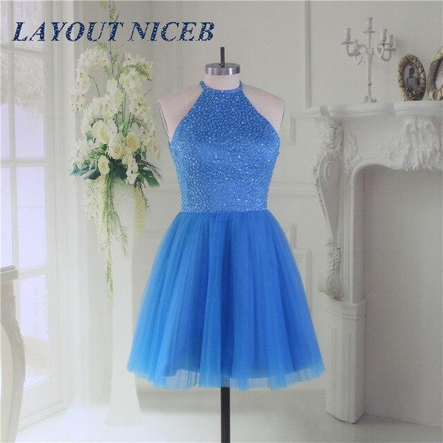 Blue Bling Beading Homecoming Dress 2019 Graduation Dresses Tulle Dress mezuniyet elbiseleri Backless vestido de formatura