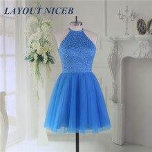 Blue Bling Beading Homecoming Dress 2019 Graduation Dresses Tulle mezuniyet elbiseleri Backless vestido de formatura