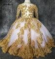 Милые платья-пачки для девочек с розовой подкладкой  с золотой аппликацией  кружевные праздничные платья для маленьких девочек  бальное пла...