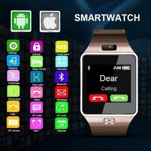 Image 1 - DZ09 Sports Gold Smart Watch LED Electronic Intelligent Wristwatch Pedometer Phone Android Wrist Watches Men Masculino Relogio