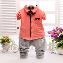 baby clothes 2016 fashion spring children's clothing boys girls shirt pants two-piece cotton shirt small children's clothing