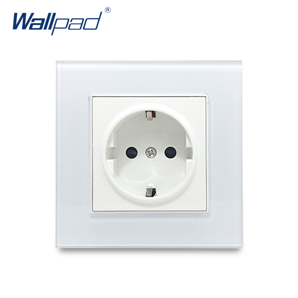 EU 2 Pin German Socket Wallpad Luxury Crystal Glass Panel Electric Wall Power Socket Electrical Outlets For Home Schuko