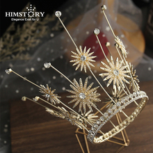 Himstory  Retro European Baroque Faux Pearls Brides Tiaras Crowns Gold Daisy Flowers Headpieces Wedding Evening Hair Accessory himstory european gold brides tiaras crowns handmade leaf crystal headpieces wedding headbands accessory holiday hair jewelry