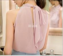 2017 New Women Beading Chiffon Blouse Korean Fashion Sleeveless Women Turtleneck Chiffon Blouse Shirt Women Top S M L XL835I 42