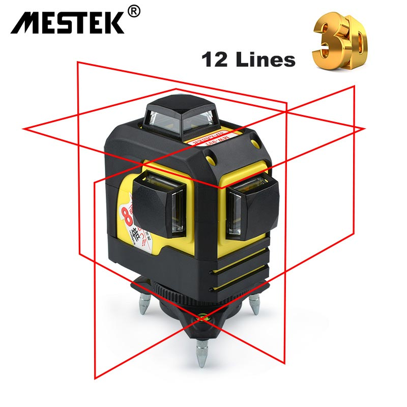 MESTEK 12 Linea 3D 93 t Niveau Nivel Laser Livello Self-Leveling 360 Orizzontale e Verticale Croce Super Potente laser rosso Linea di Fascio di