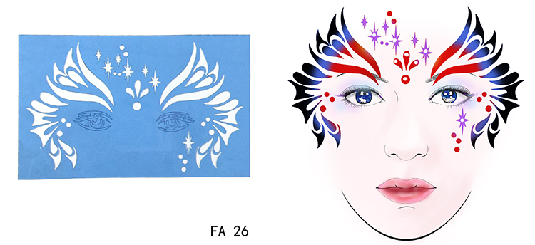 OPHIR Reusable Face Paint Stencil Airbrush Glitter Tattoo Stencil Body Painting Facial Makeup Template 7Pcs set FA26303132333536 in Body Paint from Beauty Health