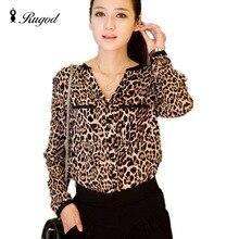 Hot Sale Fashion Women's Casual Leopard Blouses Tops Spring Autumn Sexy V-neck Long Sleeved Shirts Women Chiffon Shirt Blusas