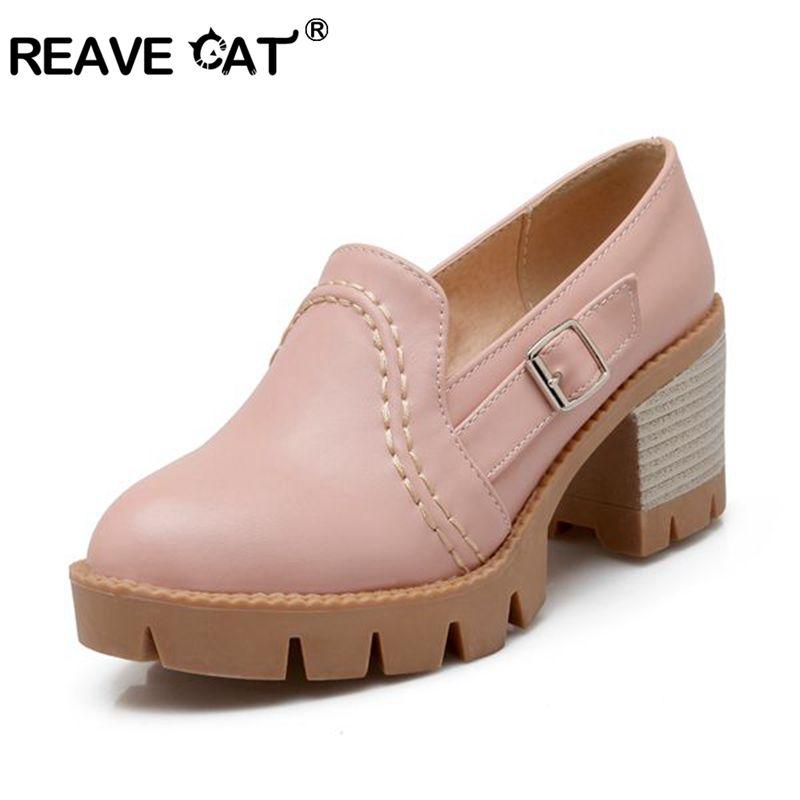 REAVE CAT platform shoes woman fashion high heels shoes buckle round party women pumps platform shoes spring pumps zapatos PL943
