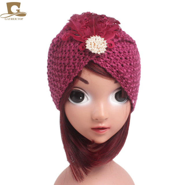 341282007f5 New Winter Kids indian style Knit Beanie Baby Handmade Turban Hat Grils  Warm Cap Children Turbante with beaded feather
