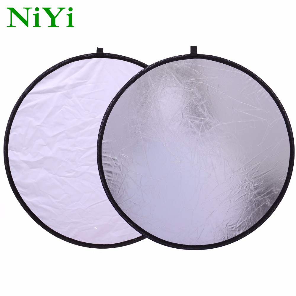 NiYi 60cm 24'' 2 In 1 Silver White Portable Collapsible Light Round Photography Reflector For Studio Multi Photo Di