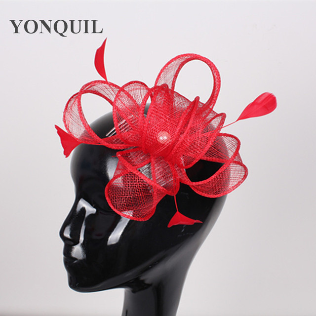 20colors white church sinamay fascinator hats fashion black feather hair accessories nice gril red bridal headwear Free shipping