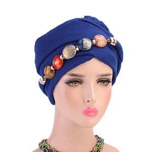 Image 2 - 2019 イスラム教徒ビーズストレッチターバンフリル髪帽子ビーニーバンダナスカーフ帽子女性のための 23