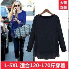 2014 spring t-shirt female long-sleeve medium-long loose plus size clothing mm o-neck chiffon shirt
