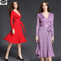 2017 New Autumn Sexy V Neck Long Sleeve Elegant Dress Women Cute Sweet Bow Waist Fold