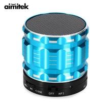 Aimitek s28ポータブル金属ミニbluetoothスピーカーワイヤレス鋼屋外ハンズフリーステレオサブウーファーサポートfmラジオtfカードaux