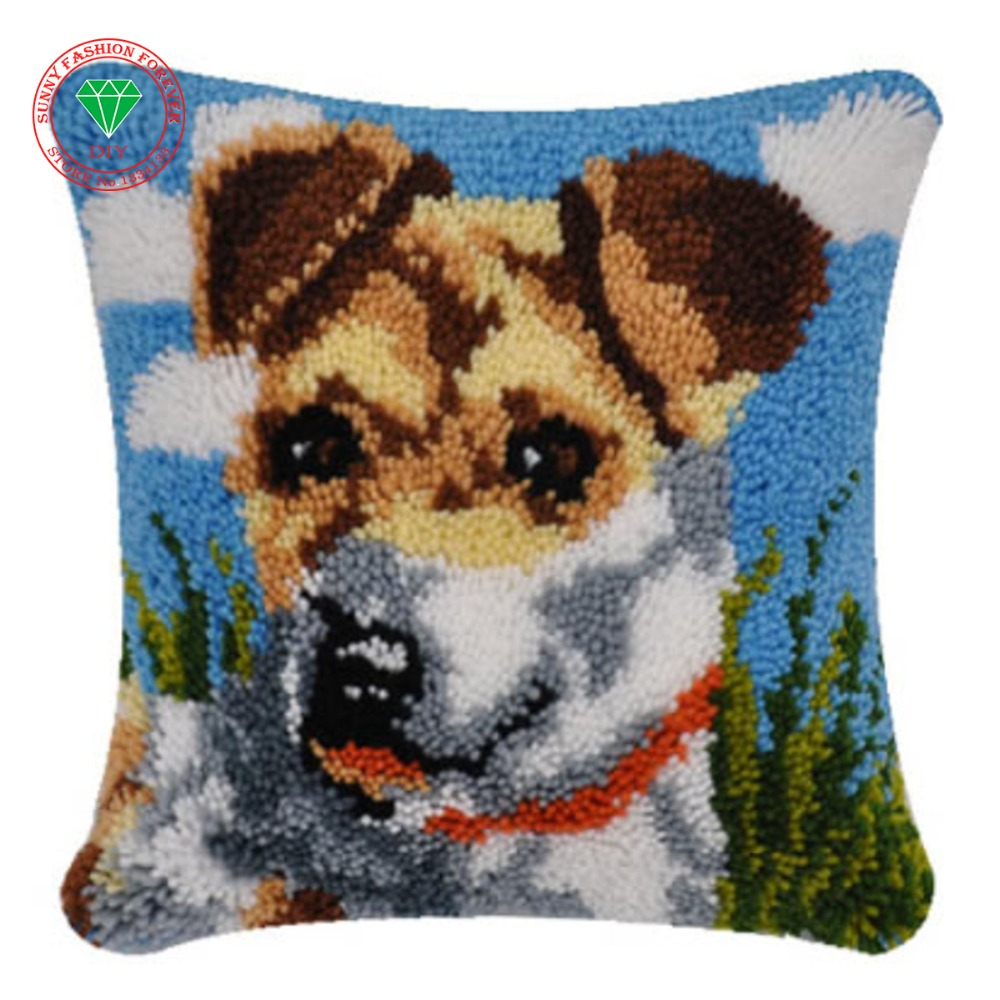 Rug Dogs Embroidery Designs: Dog Latch Hook Rug Kit Diy Pillowcase Cross Stitch Carpet