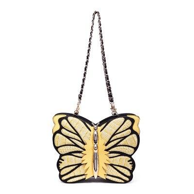 Pas cher mode sacs à main papillon sac bleu jaune sac à main femmes mignon trois utilisations voyage mariage fête sac été Crossbody filles