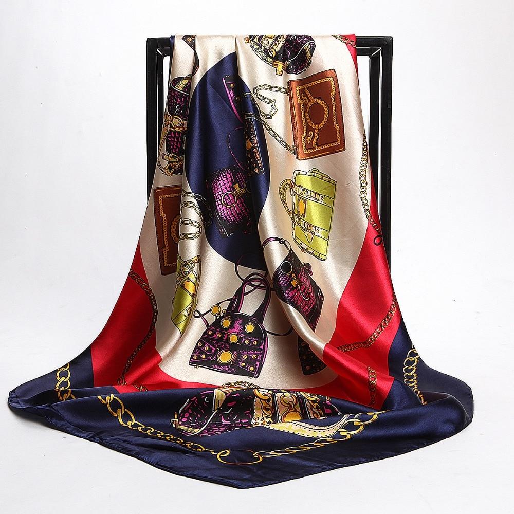 Fashion Female Bag Pattern Satin Square Silk   Scarf   90*90cm Polyester Hijab Head   Scarf   Brand Beach Cover-ups Square   Scarves     Wraps