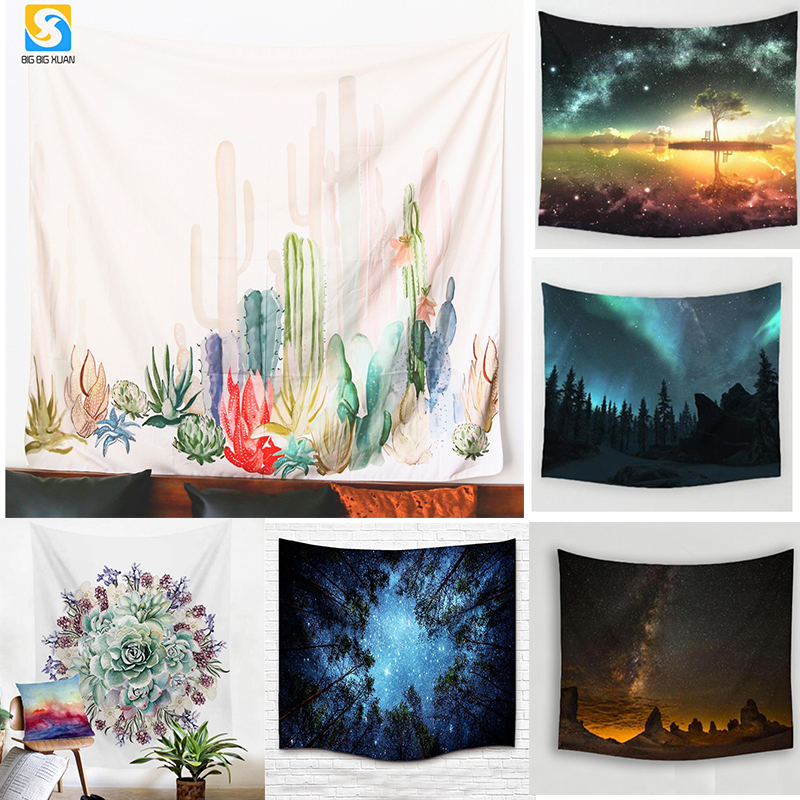 2 Size mandala Wall Hanging Cactus Tapestry Green Succulents 3D Flower Art Carpet Blanket Yoga Mat Decorative Tapestry for Home