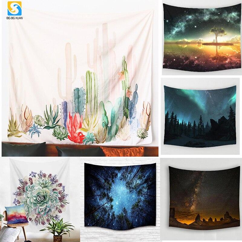 2 Tamanho mandala Tapeçaria Tapeçaria Verde Cactus Suculentas Flor 3D Art Tapete Cobertor Tapete de Yoga Tapeçaria Decorativa para Casa