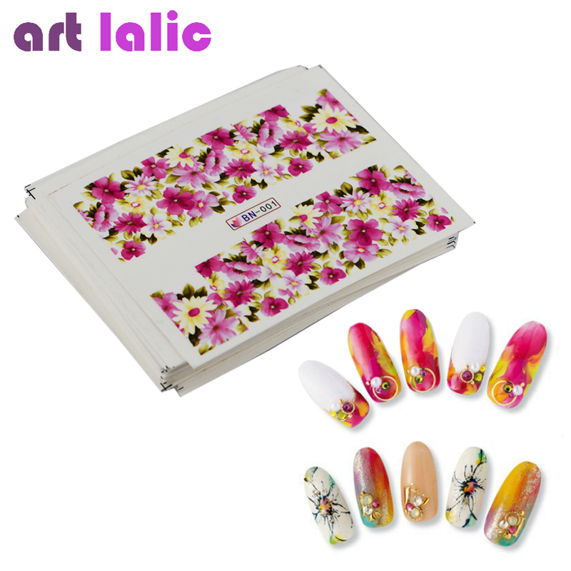24 Sheets Nail Sticker Flower Water Transfer Decals Foil Rose Peony Sakura Floral Design Nail Art Tips Wrap For Valentine's Day 12 sheets halloween nail art water transfer sticker deer full cover decals skull fancy stickers wrap tips decoration a1093 1104