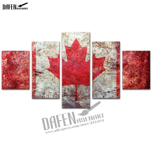 5 Panel Hd Printed Painting Vintage Canadian Flag Maple Leave Canvas