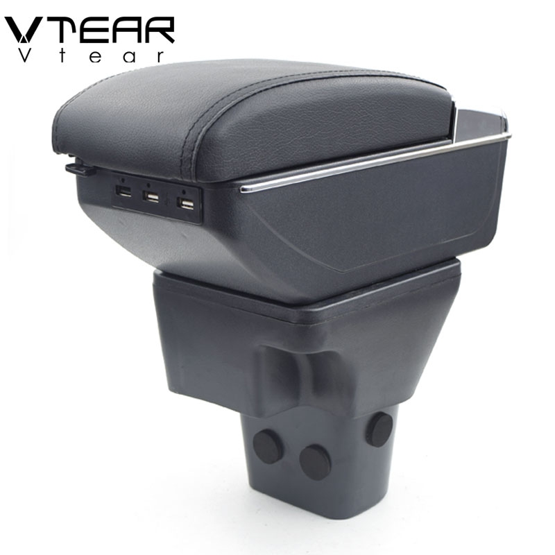Vtear For Hyundai Accent armrest box USB Charging heighten Double layer central Store content cup holder