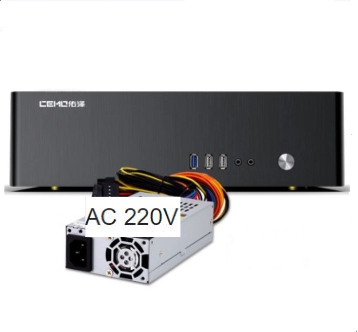 Aluminum Computer case small horizontal MINI ITX HTPC home theater Chassis include 220V AC 270W power