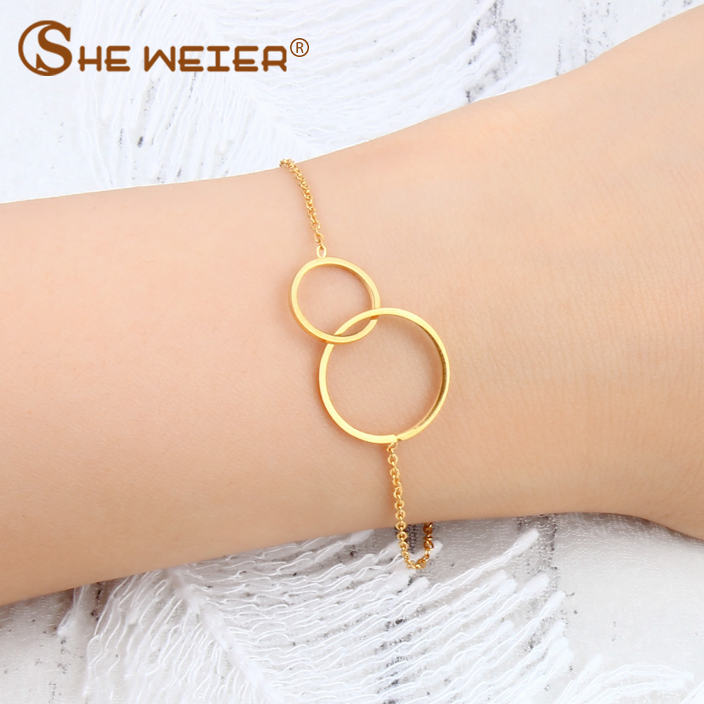 SHE WEIER friendship bracelets & bangles femme charms chain bracelet gifts for women bizuteria stainless steel bracelet braslet