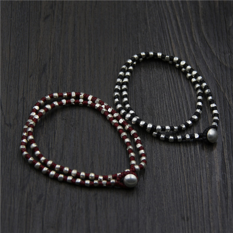 Handmade Thai Silver Beads Bracelet Pure Silver Wrap Bracelet Bohemia Rope Silver Beads Bracelet can be used as Necklace-in Strand Bracelets from Jewelry & Accessories    1