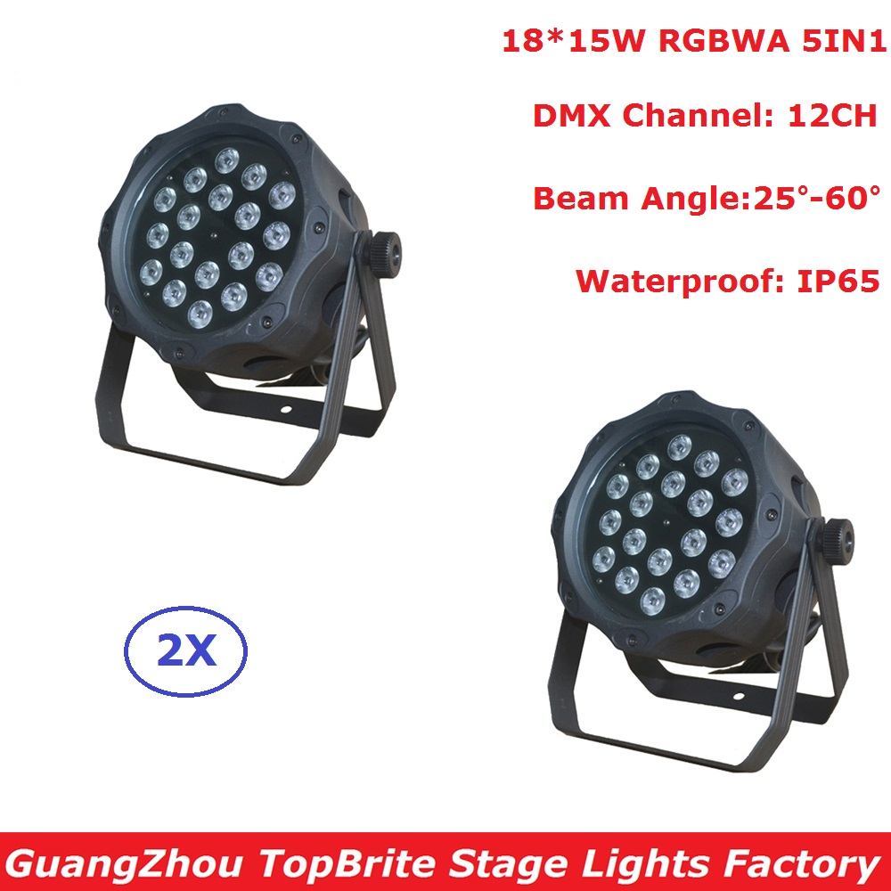2XLot Outdoor Par Lights 18X15W RGBWA 5IN1 LED Flat Par Cans IP65 Waterproof DMX Stage Effect Lighting DJ Disco Wash Lights