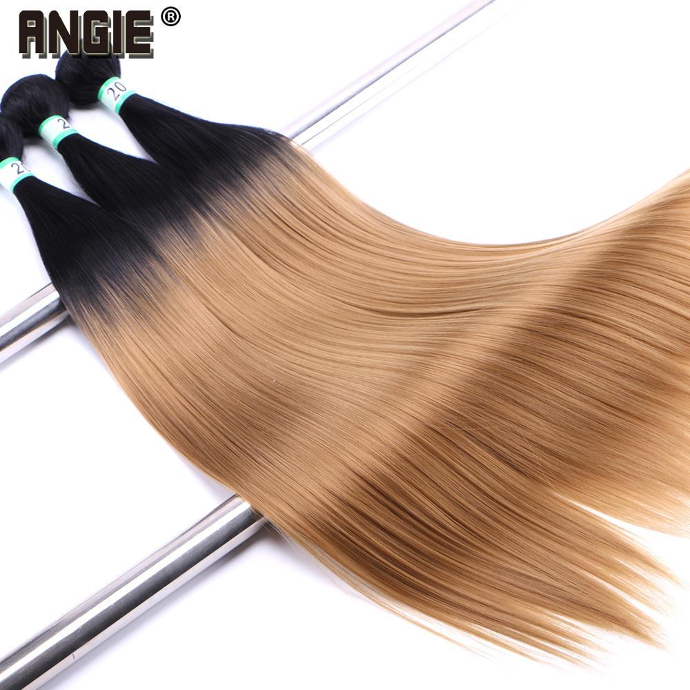 Angie ombre feixes de cabelo reto tecer