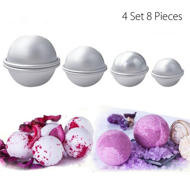 8Pcs Bath Bombs Mold Aluminum Alloy Bath Salt Bomb Mold 3D Ball Sphere Shape DIY Bathing Tool Accessories
