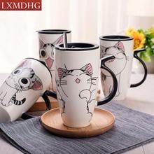 600 ML Cat Animal Patrón de Café Taza de Leche de Té de Porcelana Conjunto Con Cuchara de Cerámica Creativa Drinkware Platillo de Porcelana Europea