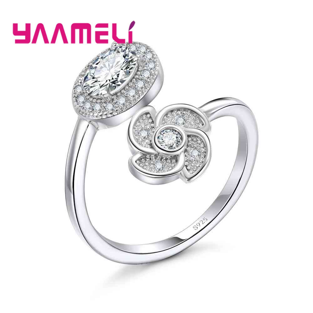YAAMELI New Fashion Good 925 Sterling Silver Hard Cubic Zirconia Opening Finger Rings Crystal Jewelry Present For Women Ladies