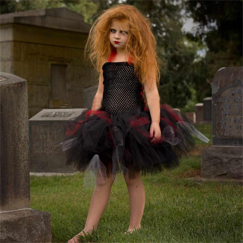 10a72c49ac ... Latest Girls Tulle Dress Cosplay Costume Handmade Children Halloween Costume  Kids Party Dresses Vampire Tutu Dress ...