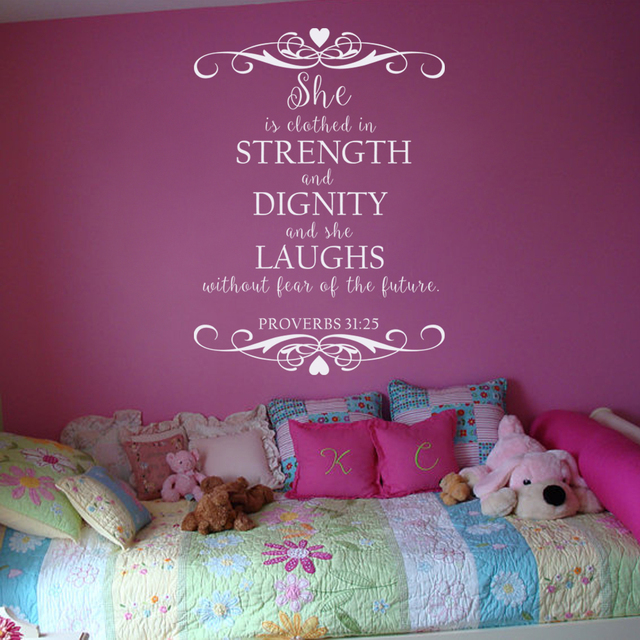 Verse She Is Clothed With Dignity: Scripture Bible Verse Wall Decal Art She Is Clothed With
