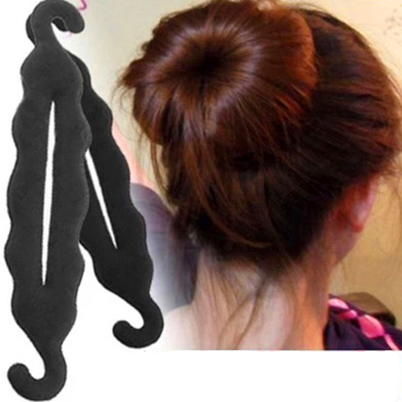 1PC Fashion Women Donut Hair Style Bun Quick Making Tools Pearl Black Headbands Hair Bands French Dish Twis Hair Accessories